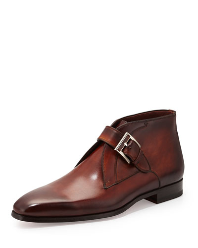 Leather Buckle Ankle Boot, Brown