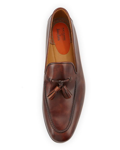 Patina Leather Tassel Loafer, Medium Brown