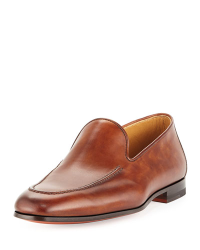Leather Apron-Toe Loafer, Cognac