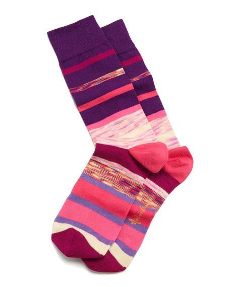 Space Dye Stripes Men's Socks, Purple