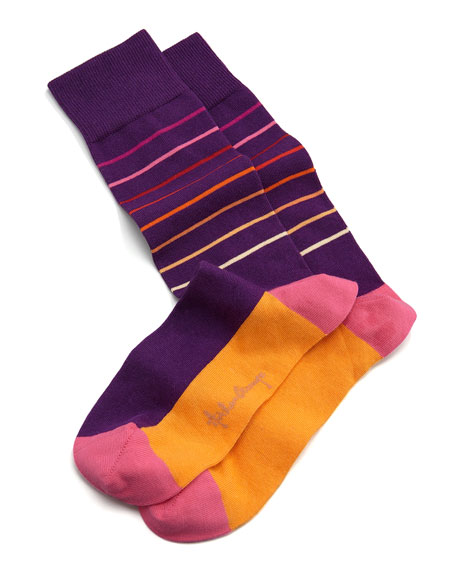 Thin Striped Men's Socks, Purple/Orange