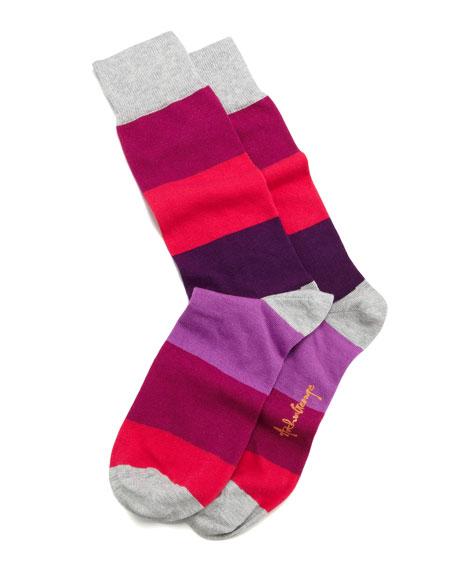 Colorblock Stripes Men's Socks, Purple