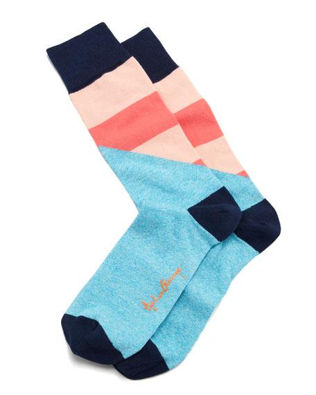 Halved Large-Stripe Men's Socks, Aqua