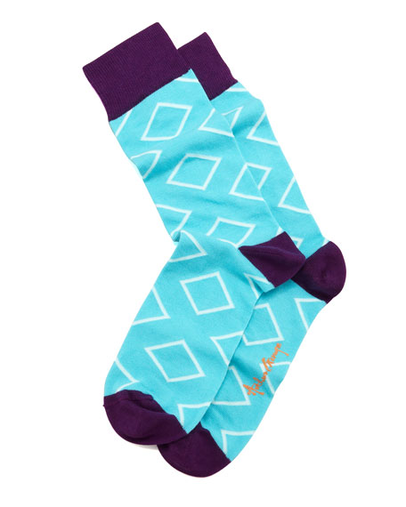 Outlined Diamond Men's Socks, Aqua