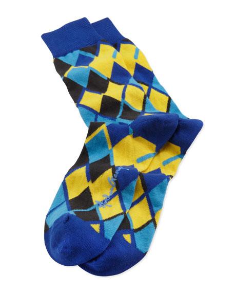 Linked Diamonds Men's Socks, Blue/Yellow