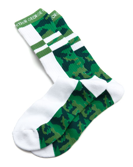 Split Camo Men's Socks, White/Green