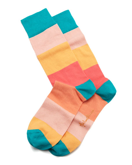 Colorblock Stripes Men's Socks, Peach