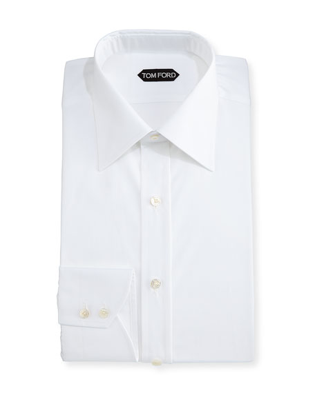 TOM FORD Classic Barrel Cuff Dress Shirt, White
