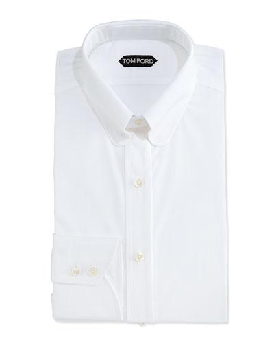 Slim-Fit Dress Shirt with Metal Bar, White
