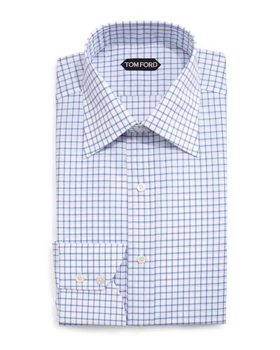 Windowpane-Pattern Silk Dress Shirt, Blue/White