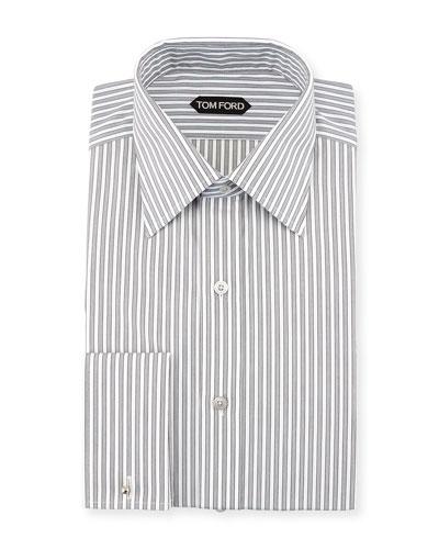Striped French Cuff Dress Shirt, Black/White