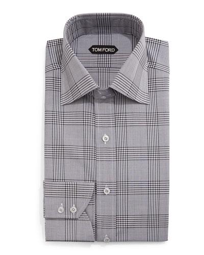 Prince of Wales Check Dress Shirt, Black/White