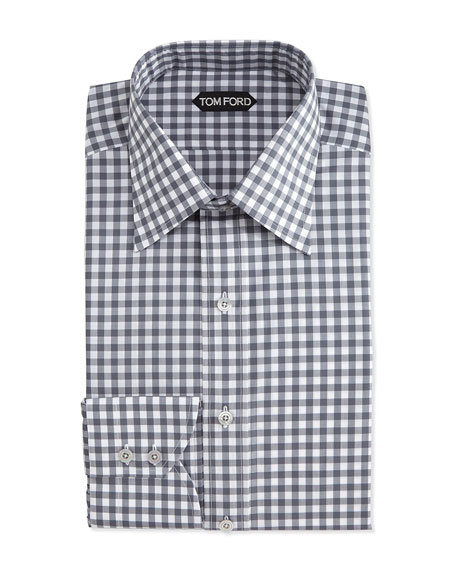 TOM FORD Check-Pattern Silk Dress Shirt, Gray