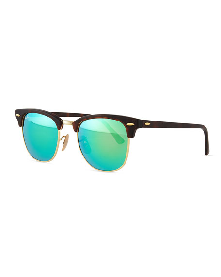 ray ban clubmaster half frame acetate sunglasses  clubmaster half rimmed sunglasses, tortoise/green
