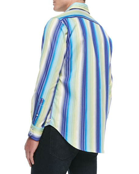 Como Striped Sport Shirt, Blue