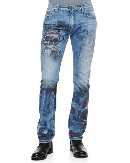 Skull-Design Studded-Pocket Jeans