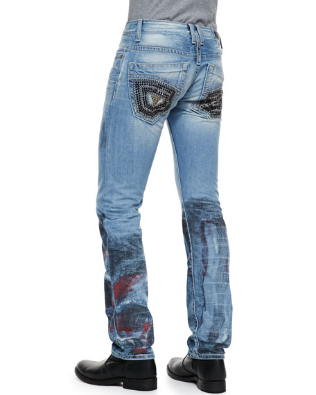 Skull-Design Studded-Pocket Jeans