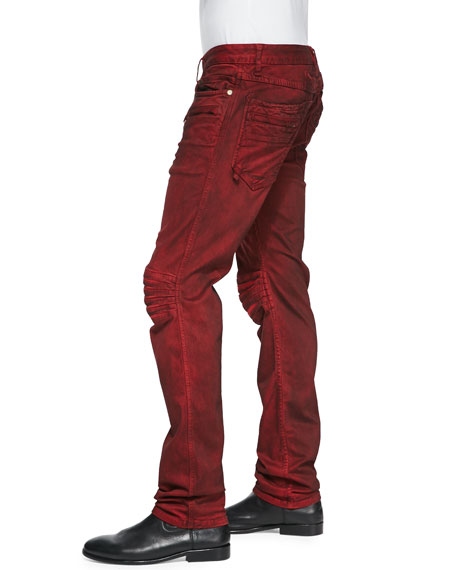 3D Denim Moto Pants, Red