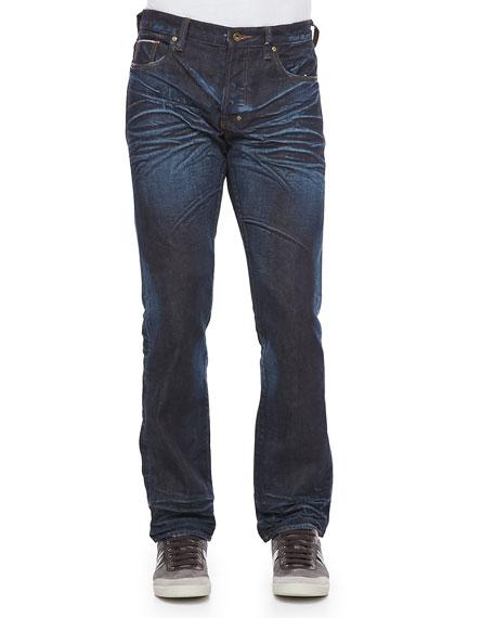 Barracuda Straight-Leg Selvedge Jeans, 6M Dark Blue