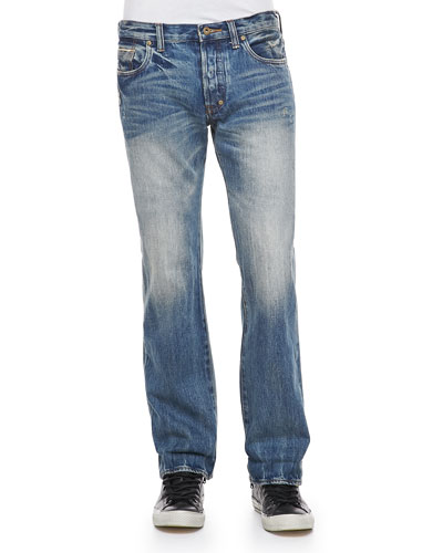 Barracuda 5Y Straight-Leg Selvedge Jeans, Light Blue