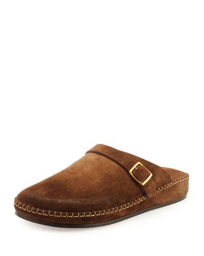 Edie Suede Clog Shoe, Brown