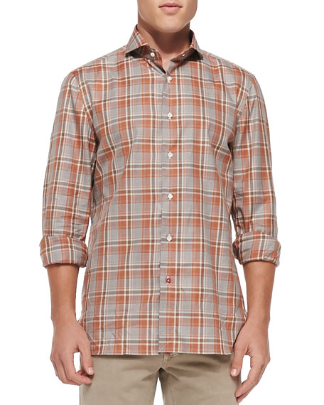 Isaia Plaid Woven Shirt, Brown