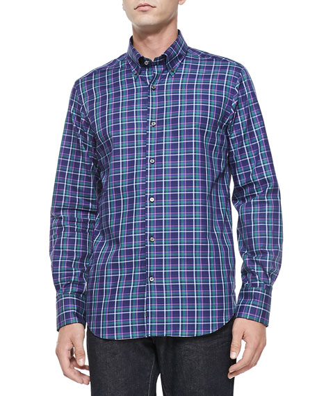 Neiman Marcus Button Down Plaid Shirt Navy Purple Green
