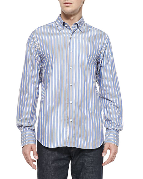 Neiman marcus button down striped shirt blue brown white for White shirt brown buttons