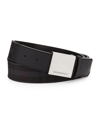 Check Plaque-Buckle Belt, Charcoal