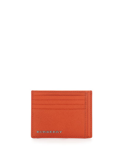 London Leather Bernie Card Case, Coral Red