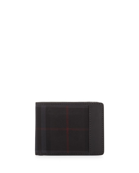 Burberry Check Hipfold Wallet, Charcoal