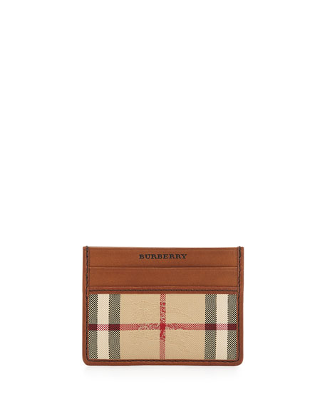 Check/Leather Card Case, Brown