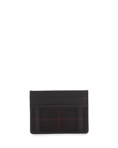 Check/Leather Card Case, Charcoal