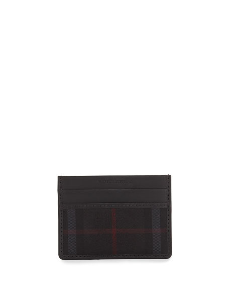 Burberry Check/Leather Card Case, Charcoal