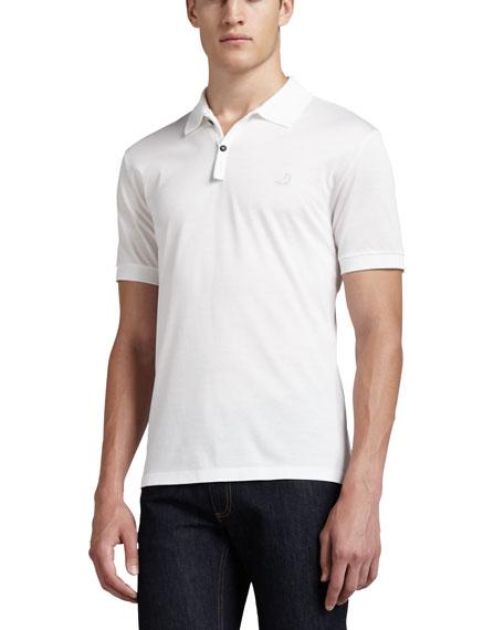 Short-Sleeve Sneaker Polo, White