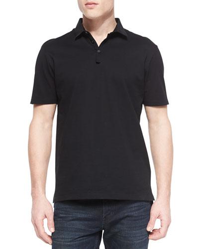 Grosgrain-Collar Short-Sleeve Polo, Black
