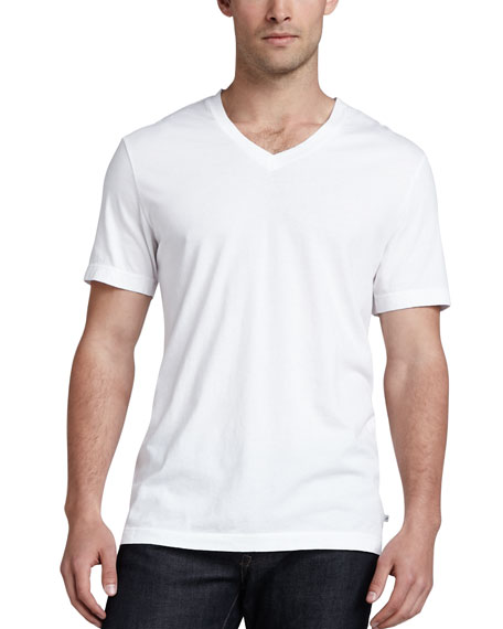 V-Neck Cotton T-Shirt, White