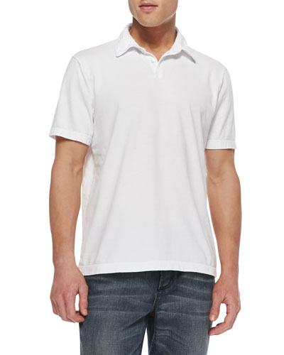 Sueded Jersey Polo Shirt, White