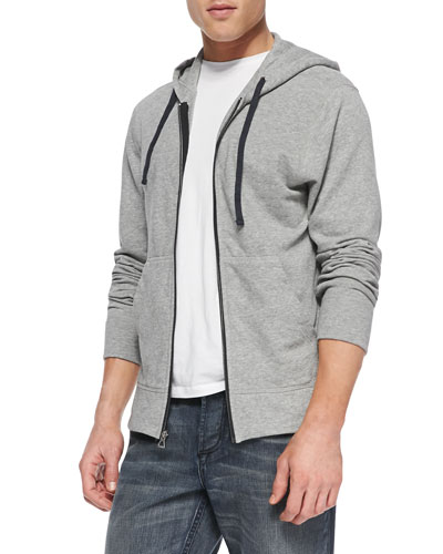 Cotton-Knit Zip Hoodie, Heather Gray