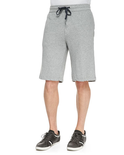 French Terry Drawstring Shorts, Heather Gray