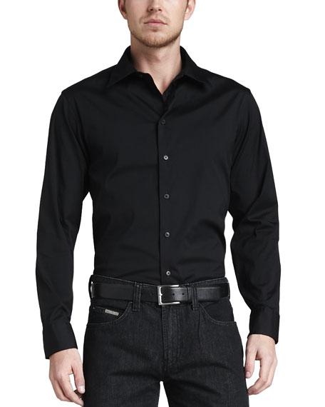 Stretch-Poplin Sport Shirt, Black