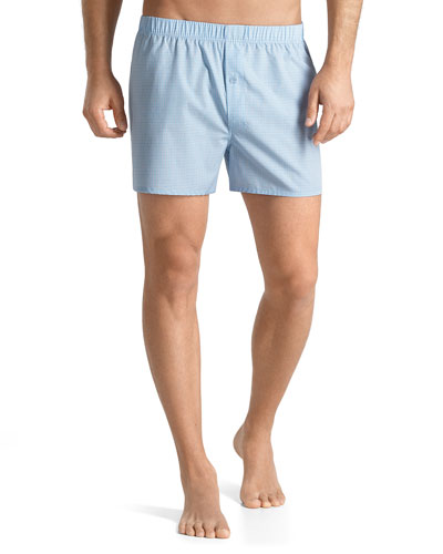 Fancy Woven Check Boxer Shorts, Light Blue