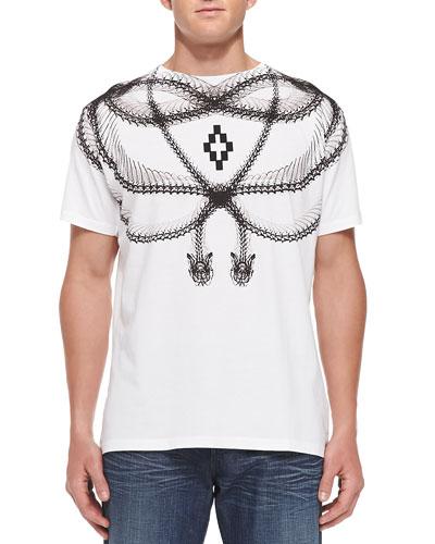 Snake-Skeleton-Print Tee, White