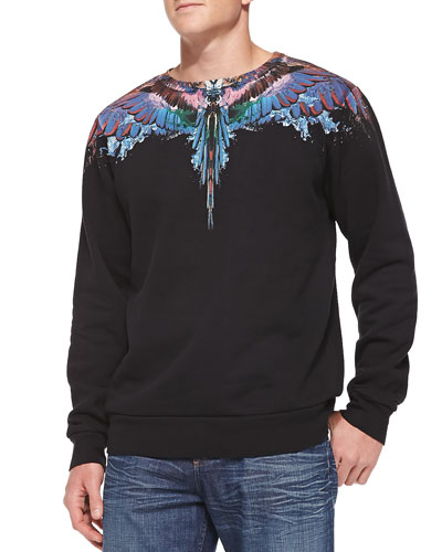 Feather-Print Sweatshirt, Black