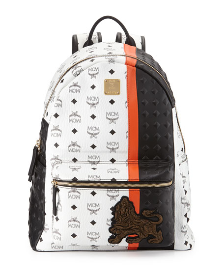 MCM Munich Lion Backpack, White