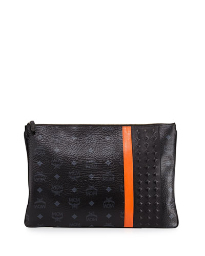 Men's Visetos Print Large Pouch, Black