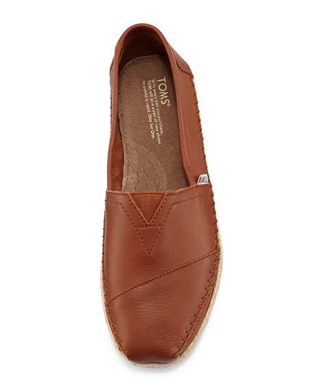 5d6cfdaa5f7 TOMS Classic Full-Grain Leather Rope-Sole Slip-On