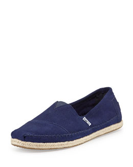 Classic Rope-Sole Suede Slip-On, Navy