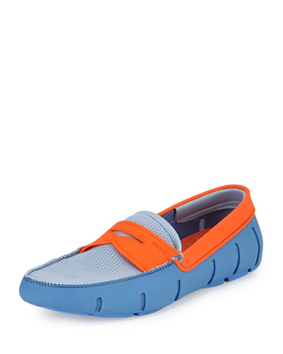 Mesh and Rubber Penny Loafer, Light Blue/Orange