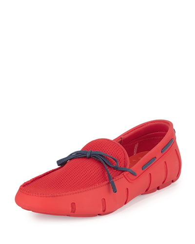 Braided Bow Water-Resistant Loafer, Red/Blue